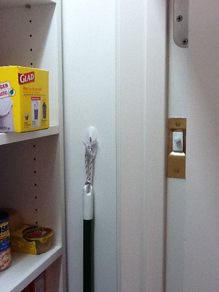 Automatic Light In Pantry Closet Brass Plate On Right Below The