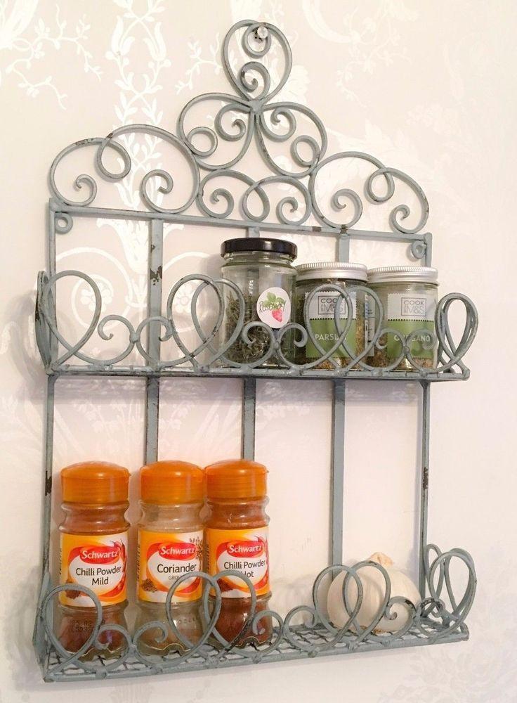 Shabby Chic Shelf Wall Unit French Vintage Storage Metal Kitchen ...