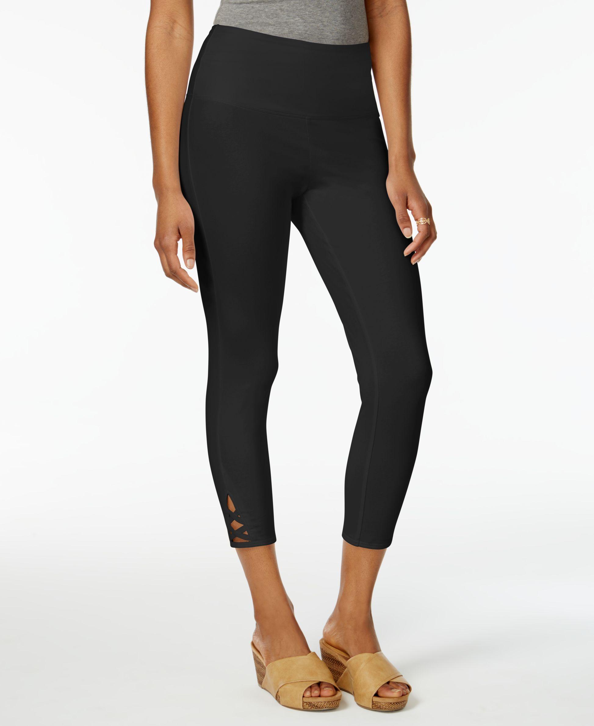 665dac2693 Style & Co Lattice-Hem Tummy Comfort Capri Leggings, Only at Macy's ...