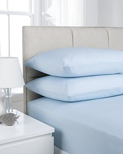 From 595 Shawsdirect Plain Dyed Poly Cotton Fitted Sheet Single Ice Blue