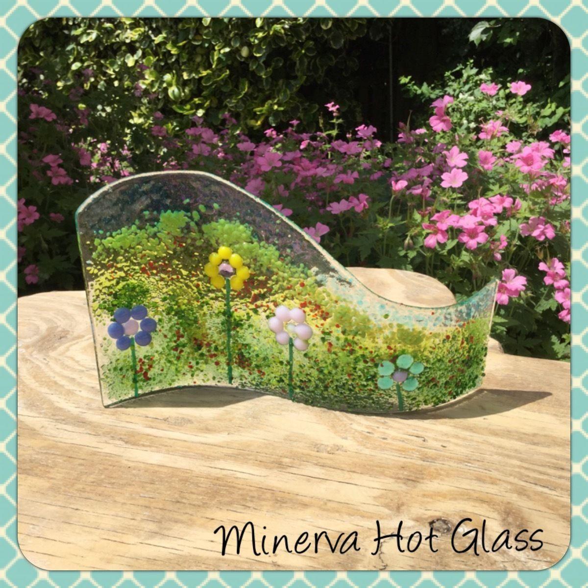 Fused Glass Flower Art Curve Light Catcher Fused Glass Wave Minerva ...