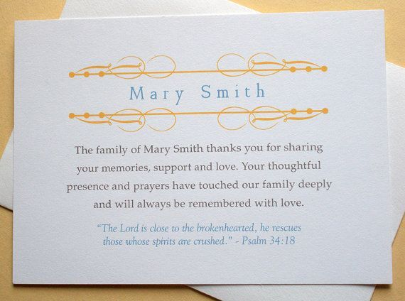 Sympathy Thank You Cards - Religious - Personalized - English or ...