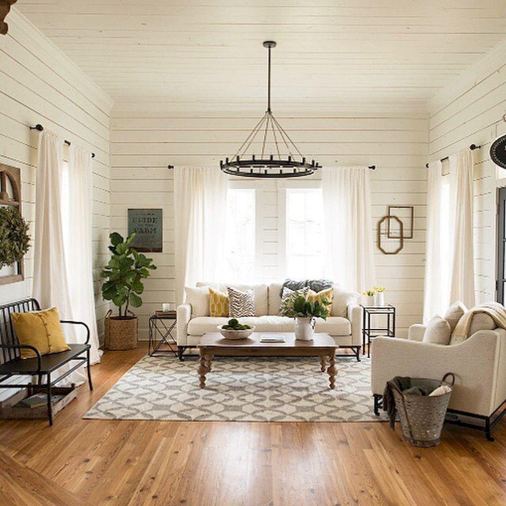 75 warm and cozy farmhouse style living room decor ideas (5 ...