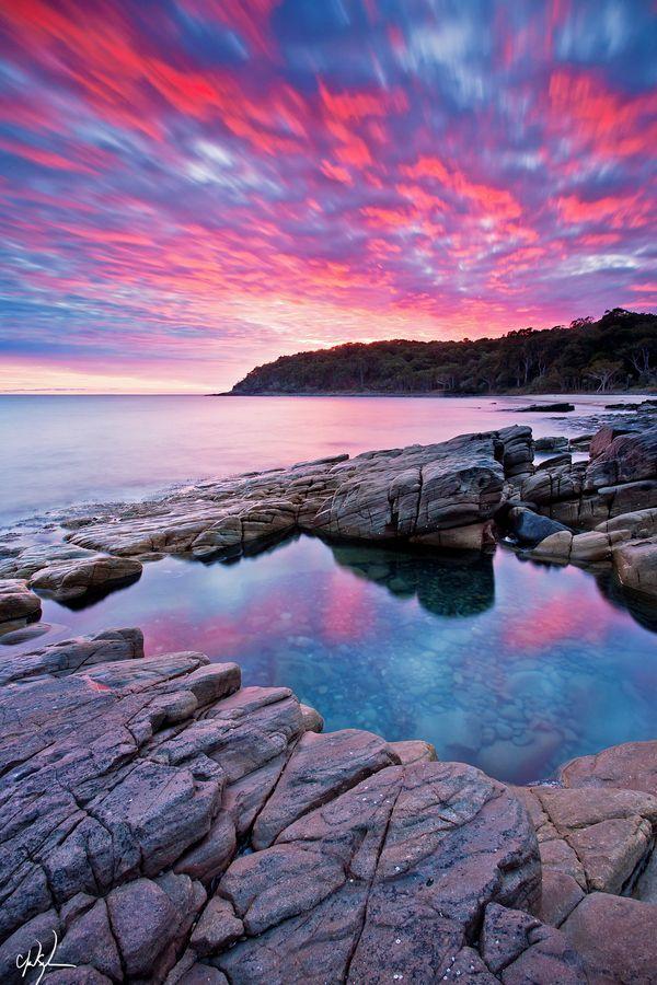 A beautiful pink sunrise in Noosa Heads National Park, Queensland, Australia