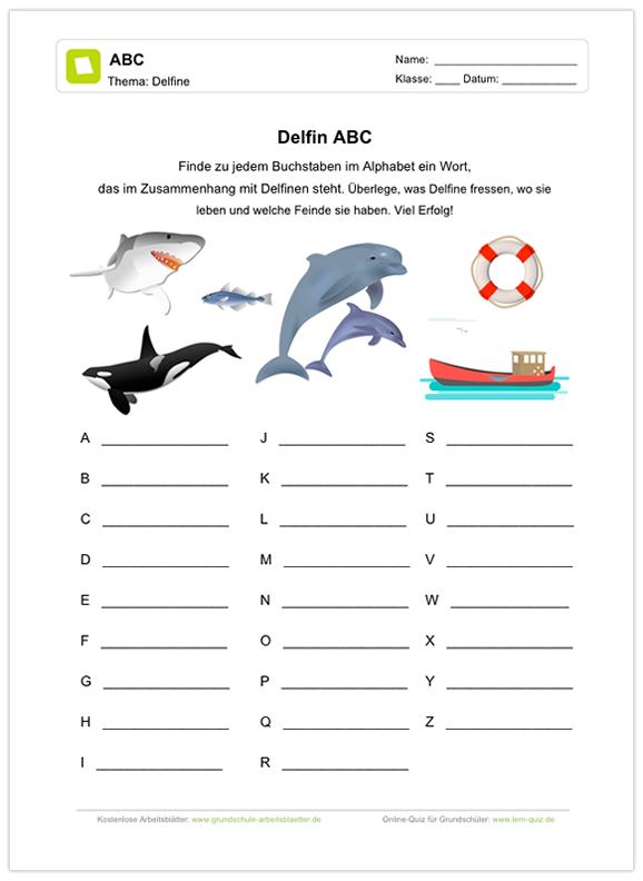 Ein kostenloses Arbeitsblatt zum Thema Delfine, auf dem die Schüler ...