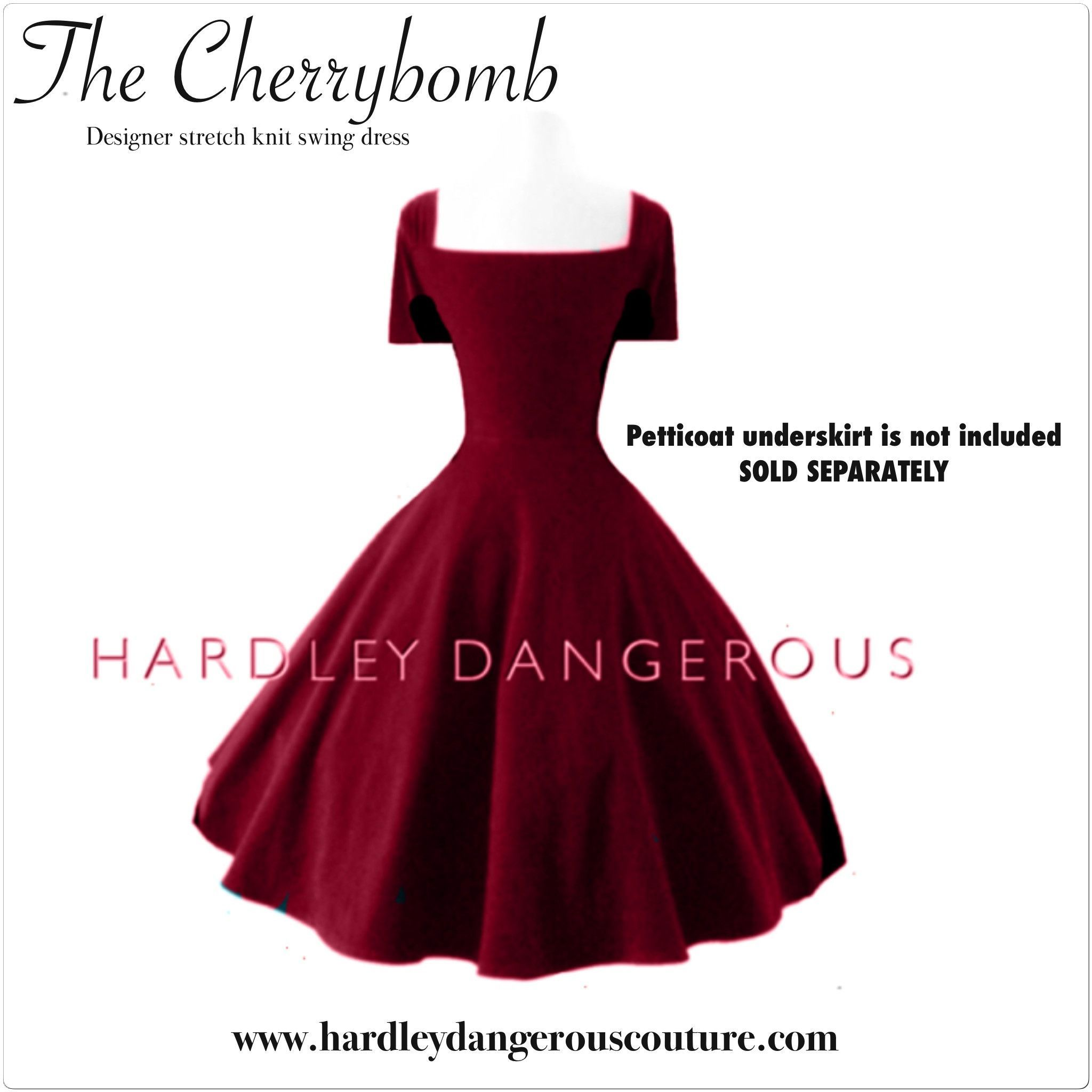 Burgundy cherrybomb dress with straight cut neckline 38 length deep teal custom handmade cherrybomb bridesmaid dress with retro short sleeves straight cut neckline length ombrellifo Images