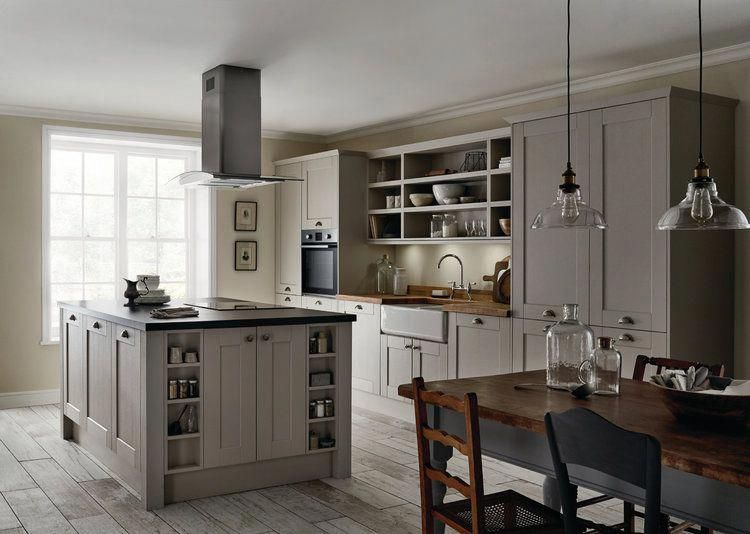 Howdens Fairford Kitchen In Cashmere Featuring Pewter Effect Cabinet Handles Blackstone And Solid Oak Block Kitchen Fittings Kitchen Suppliers Kitchen Trends