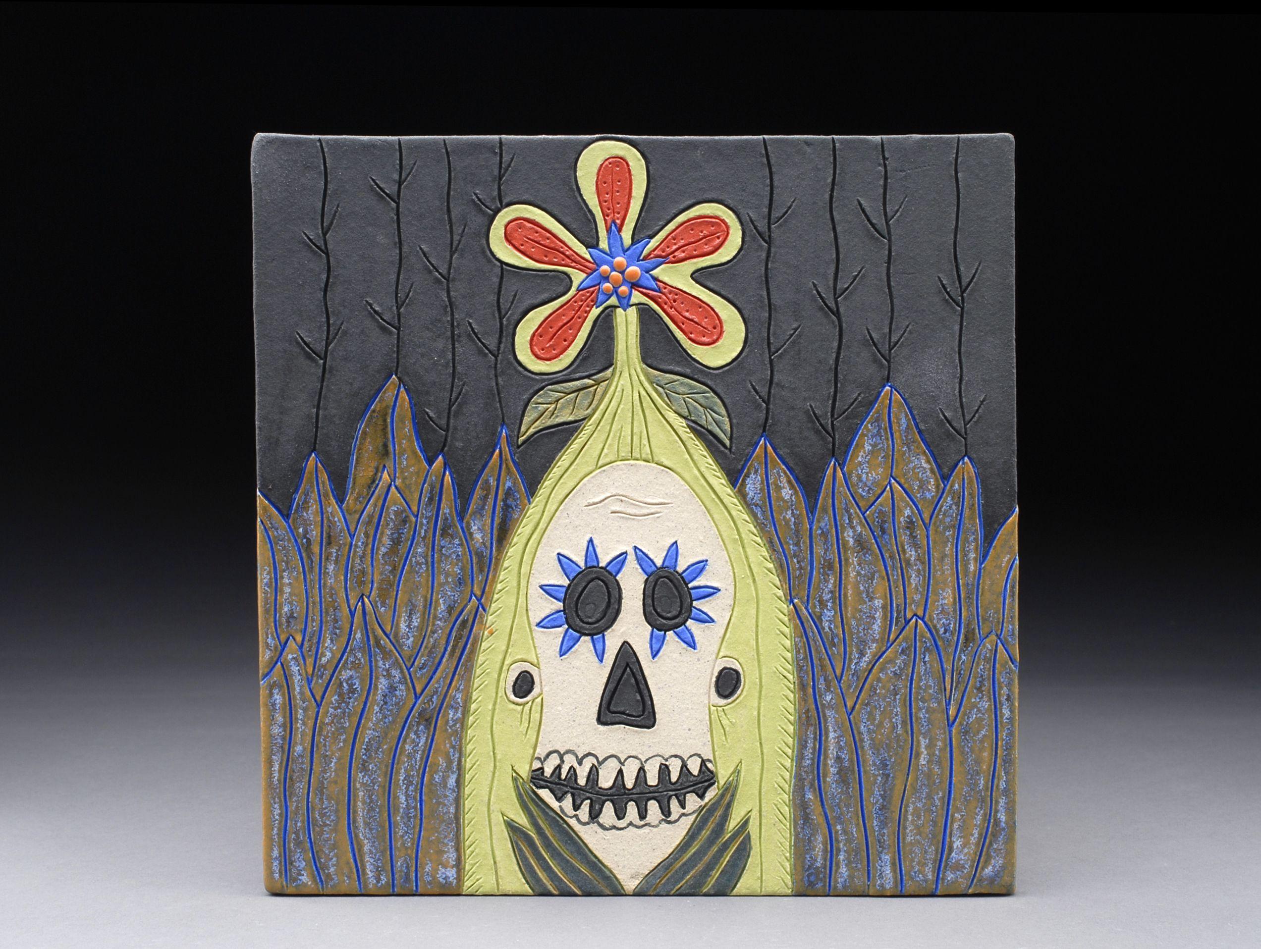 Blooming skull 2 8 x 8 ceramic tile ceramic techniques blooming skull 2 8 x 8 ceramic tile dailygadgetfo Choice Image