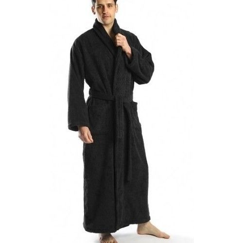 EXTRA LARGE TALL MEN S BATHROBE COTTON TURKISH TERRY XL BATH ROBE LONG  BLACK  turkishtowels  Robes 8eb2454c4