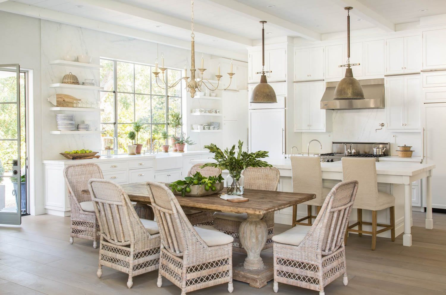 Atherton Giannetti Modern Farmhouse Kitchens Wicker Dining Chairs Farmhouse Dining Room