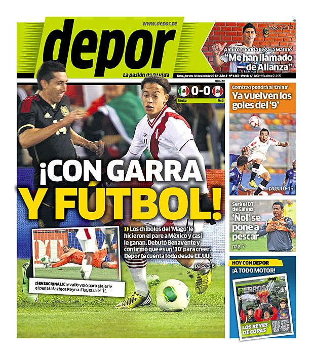 Portada del 18 de Abril: ¡Con garra y fútbol! #SeleccionPeruana #Eliminatorias VAYA QUE ES EL MEJOR