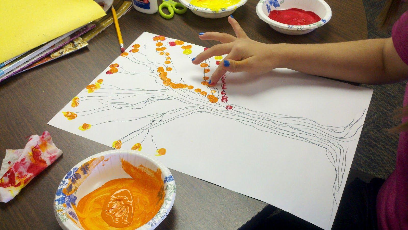 Fall finger painting creative art activities finger
