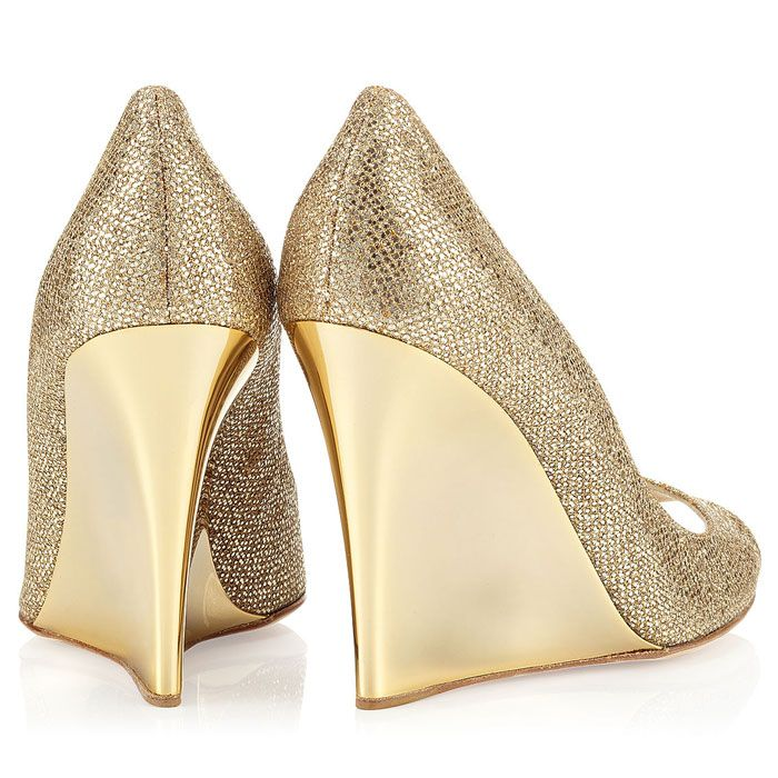 Jimmy Choo Gold Bello Wedges Wedding Shoes Highheel Wedge With A Beautiful Stiletto Back Heel