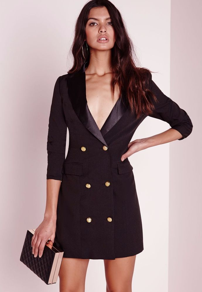6af56b0d7831 Missguided H/M Black Deep Plunge Satin Trim Double Breasted Blazer Dress  Size 0 #Missguided #Sexy #LittleBlackDress