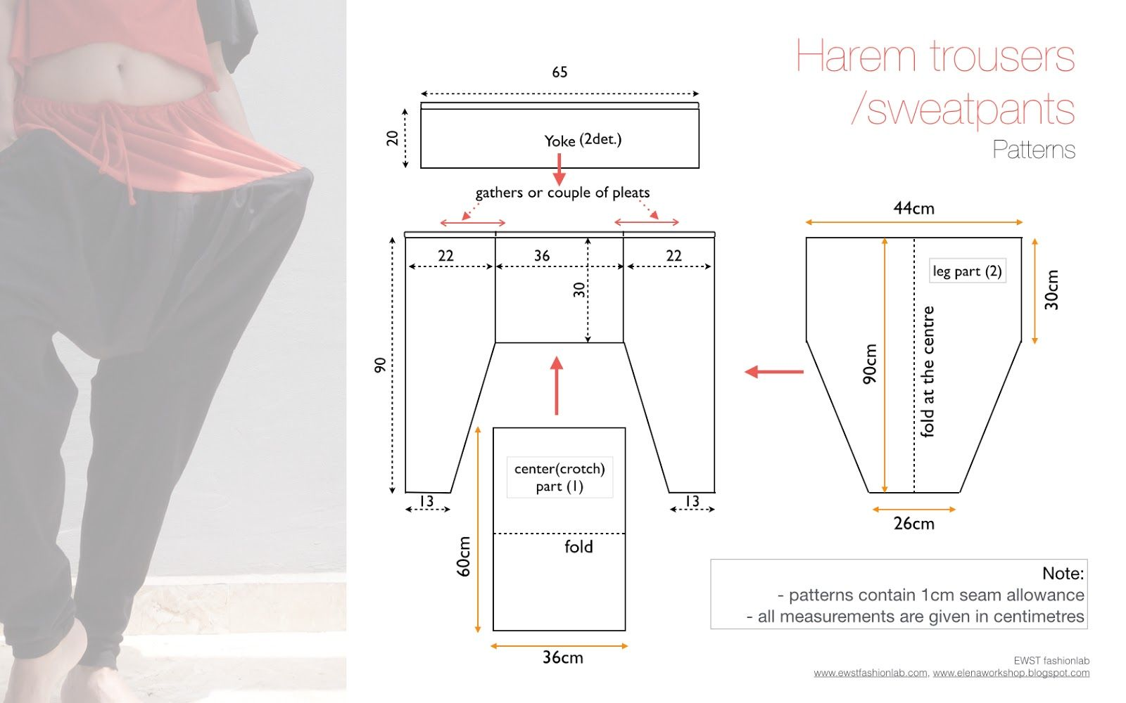 Free sewing patterns for harem trouserssweatpants. Quick