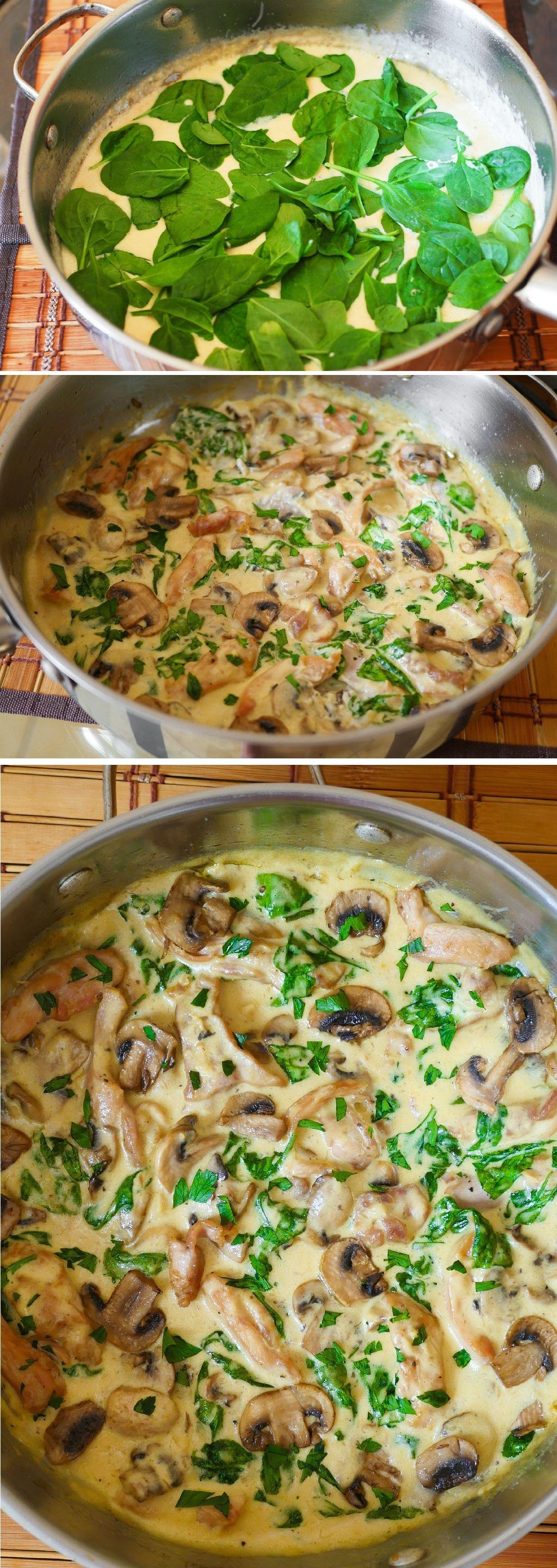 Chicken in Creamy Parmesan Mushroom Sauce