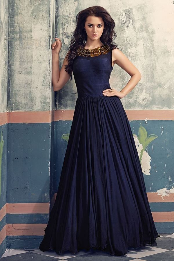 Banarasi Silk Machine Work Blue Plain Semi Stitched Long Anarkali ...