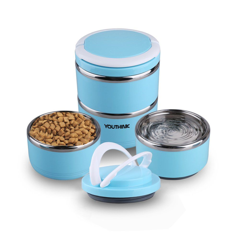 Youthink Travel Dog Bowl Stainless Steel Fit Water And Feed Bowl Portable Spill Proof Pet Bows Multiple Layers