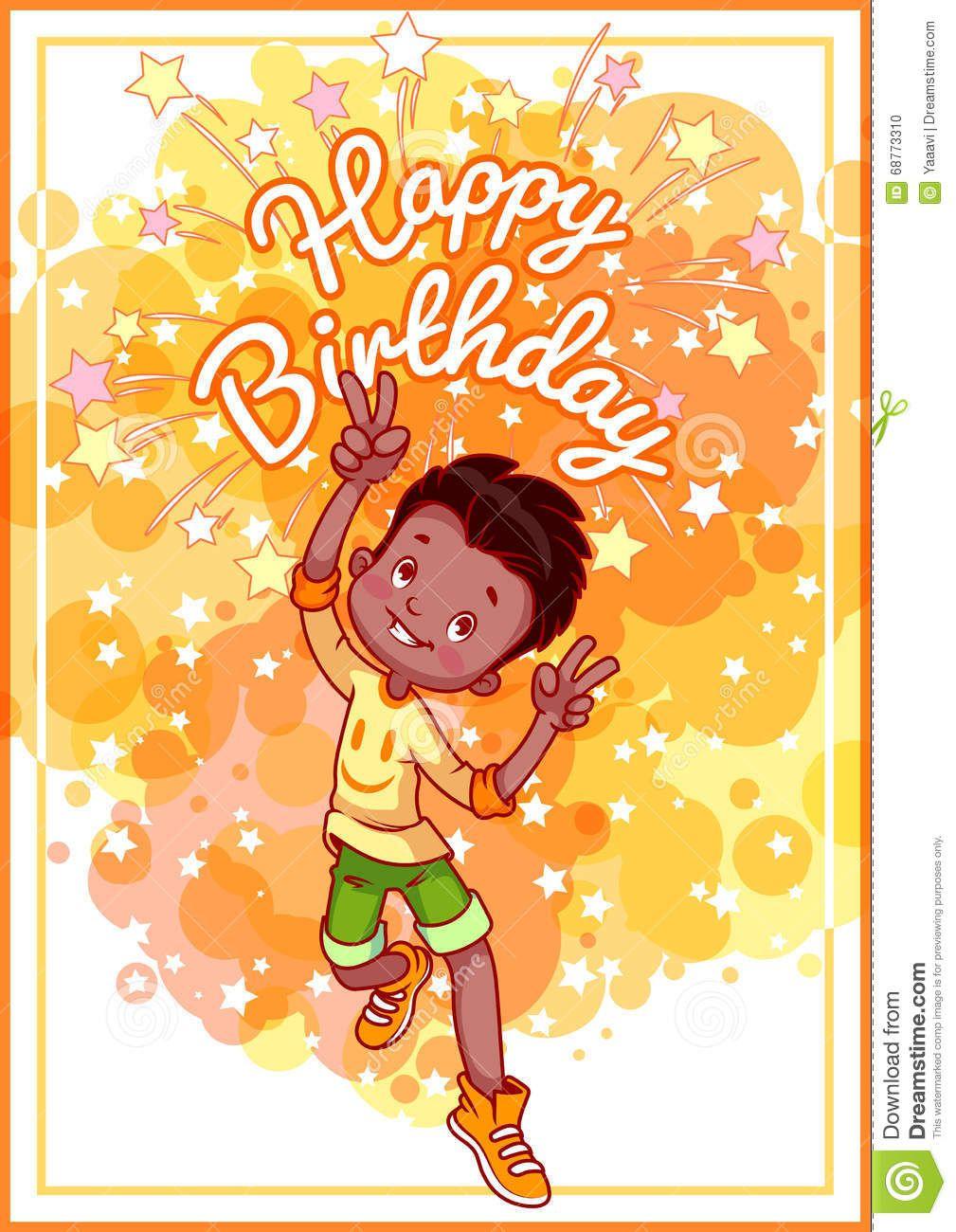 Greeting Card Birthday With A Happy African American Boy