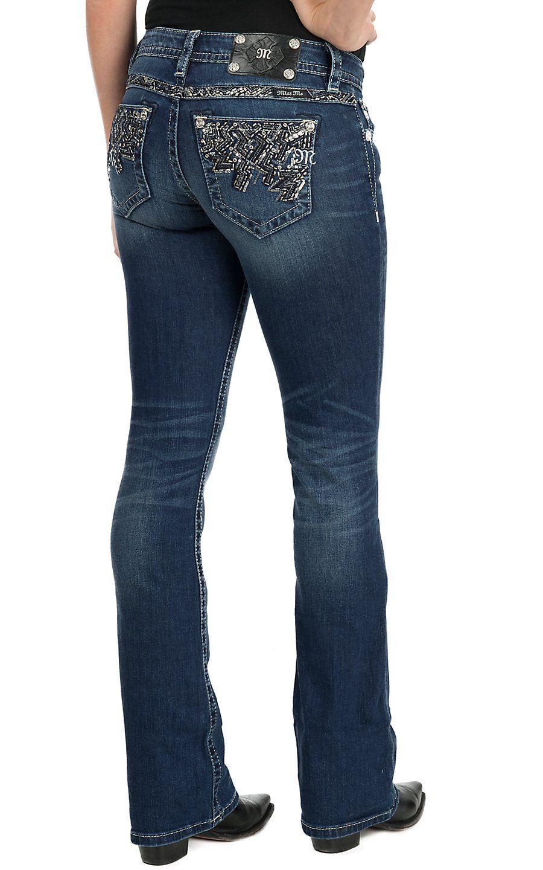 fffabfea944 Miss Me Women's Medium Wash Open Back Pocket Flash & Sparkle Boot Cut Jeans  | Cavender's