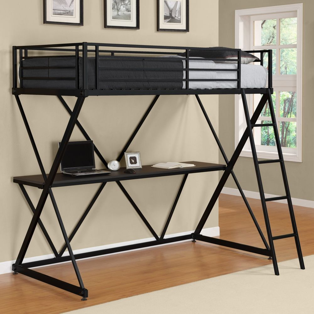 ICYMI Loft Bed With Desk Metal Twin Guard Rails Ladder