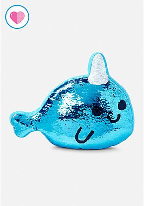 Narwhal Flip Sequin Pillow Unicorn Bedroom Accessories