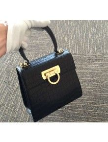 93c4c62a9c Ferragamo Small Clafskin Crocodile Pattern Katia Satchel Top Handle Bag  Black