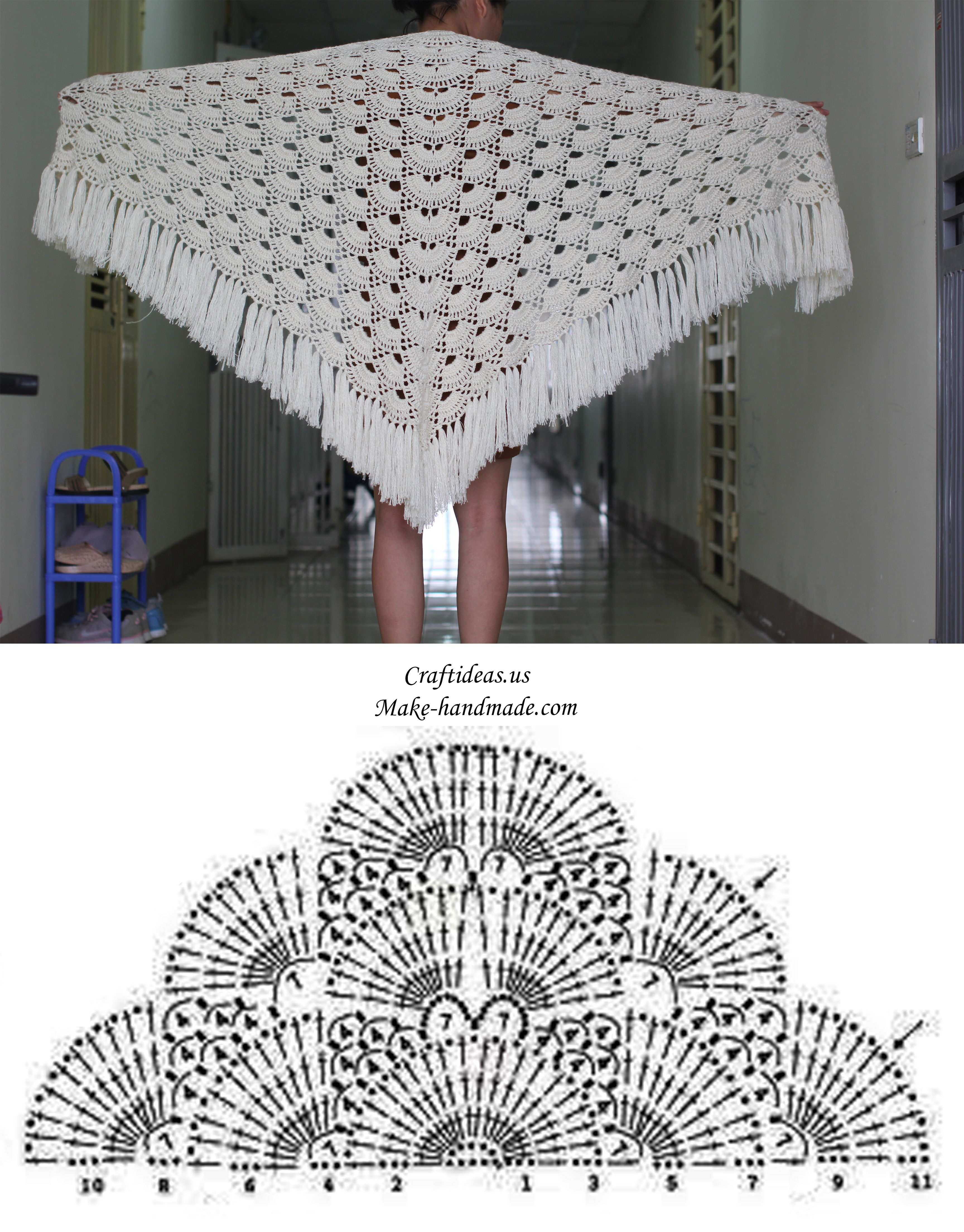Crochet Beauty Shawl For Winter Chart Shawlsthrows And Other All Stitch Diagrams Doris Chan