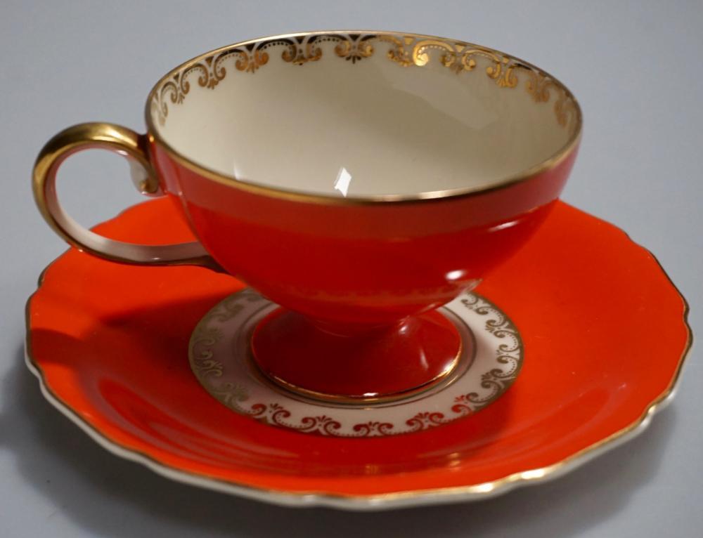 Continental Ivory Orange Red China Demitasse Cup Saucer Brilliant Color Demitasse Cups Tea Cups Tea Cups Vintage