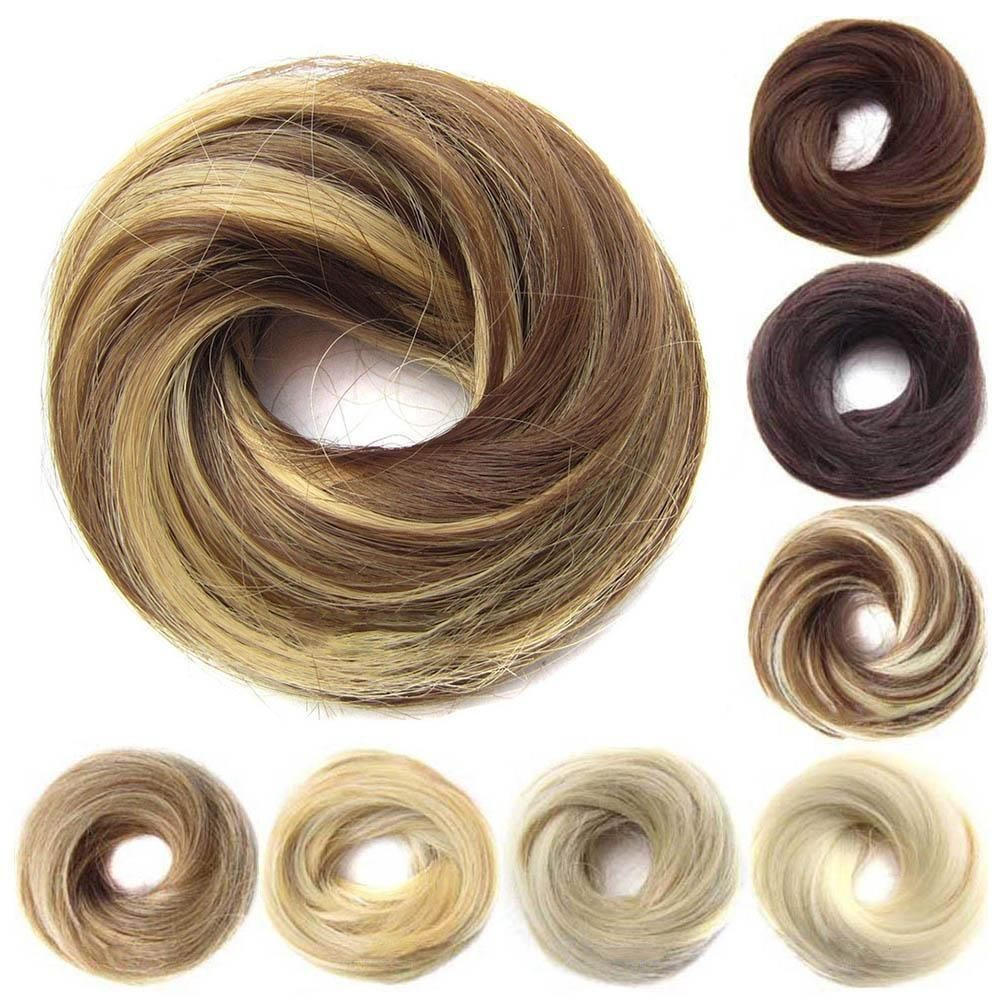 Girls Rubber Band Straight Scrunchie Brown Blonde Donut ...