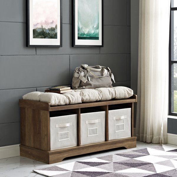 Liller Wood Storage Bench is part of Playroom Organization Bench - Instantly organize your mudroom or foyer with this charming storage bench  This dapper design strikes a chunky rectangular silhouette with simple moldings and classic bracket feet  Three spacious cubbies offer plenty of storage space for all your outthedoor essentials,  Rounding out the design, a thick, buttontufted cushion offers a comfy place to sit and put on your shoes before jetting out the door
