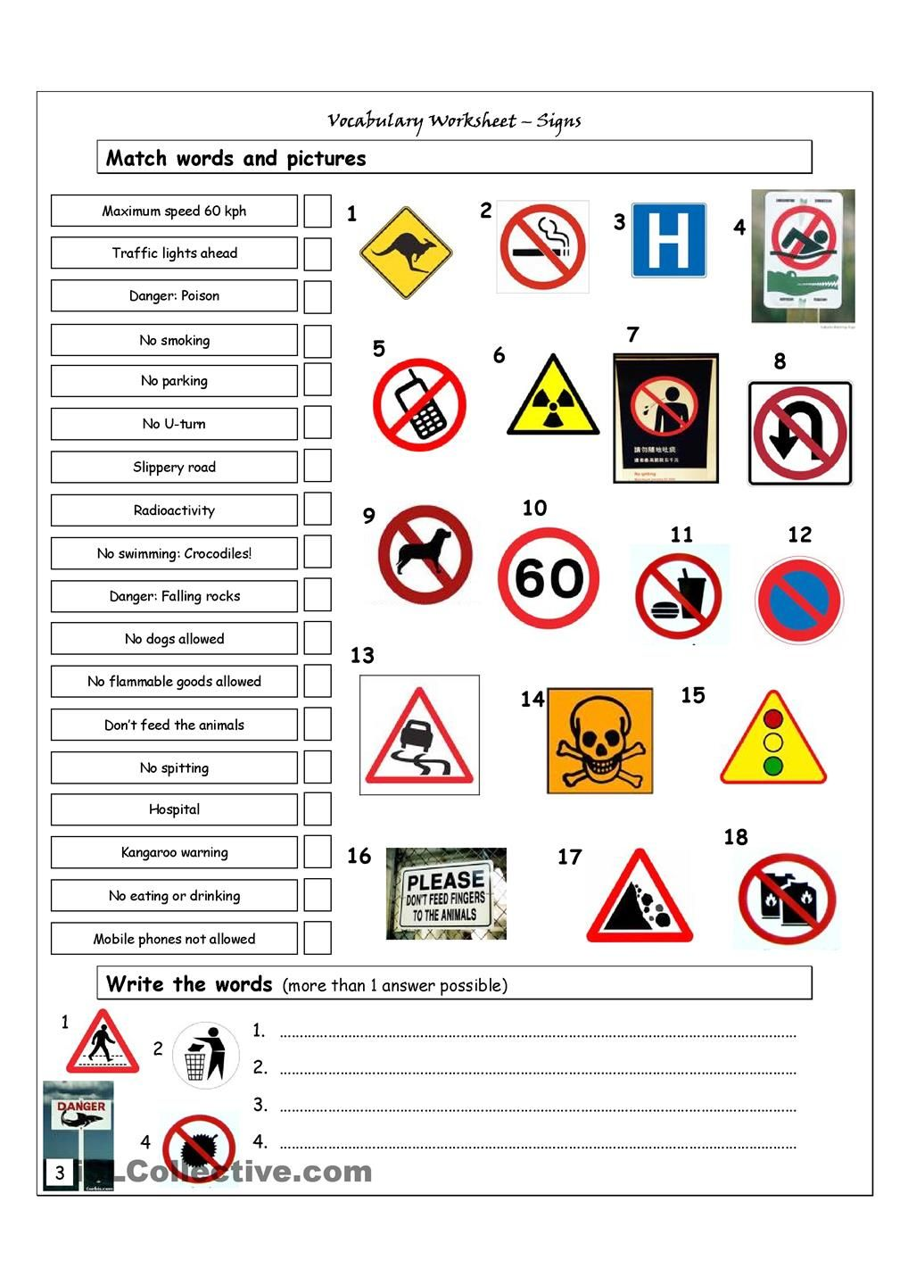 Vocabulary Matching Worksheet Signs การสอน, การศึกษา