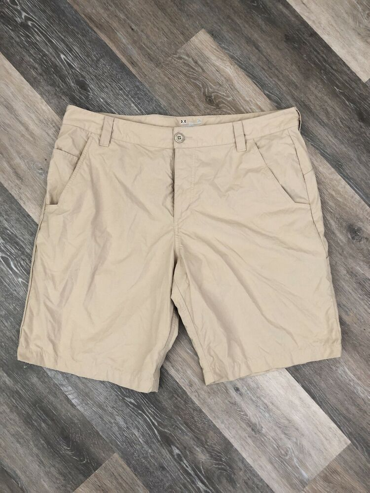 e563e9a275 Under Armour Heat Gear Loose Mens 38 Khaki Flat Front Golf Shorts 10 ...