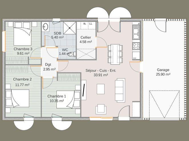 Maison En Ossature Bois Life 80m Finition Douglas Plan Maison 90m2 Plan Maison 3 Chambres Maison