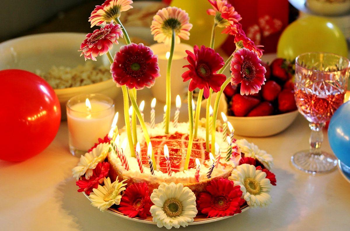 Beautiful birthday flowers beautiful happy birthday cake