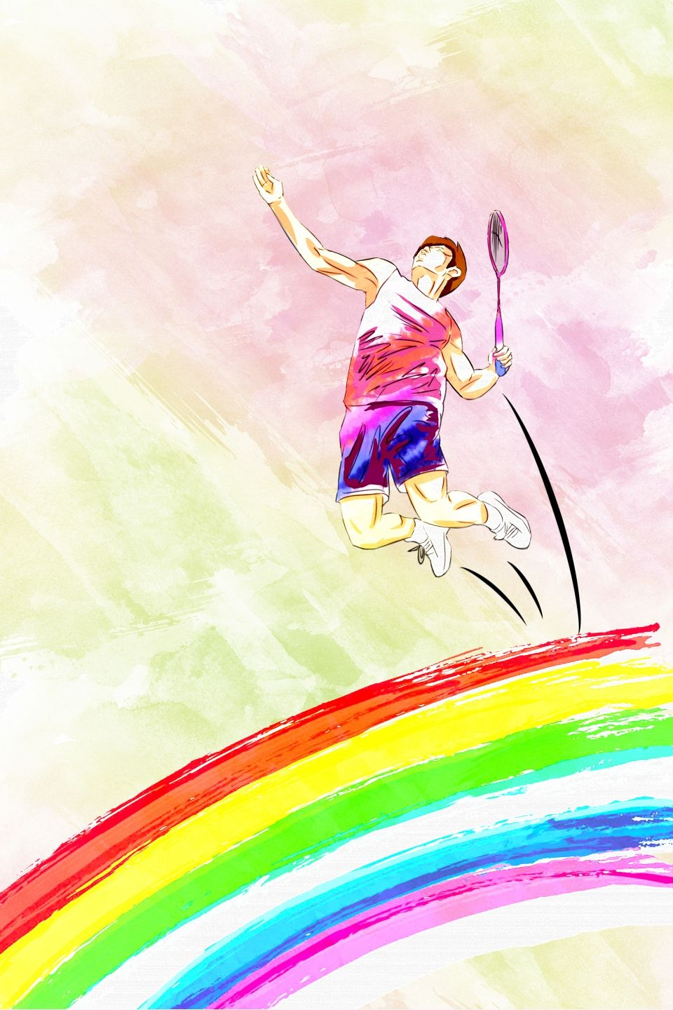Badminton Competition Flat Sports Poster Badminton Sport Poster Olympic Games Sports
