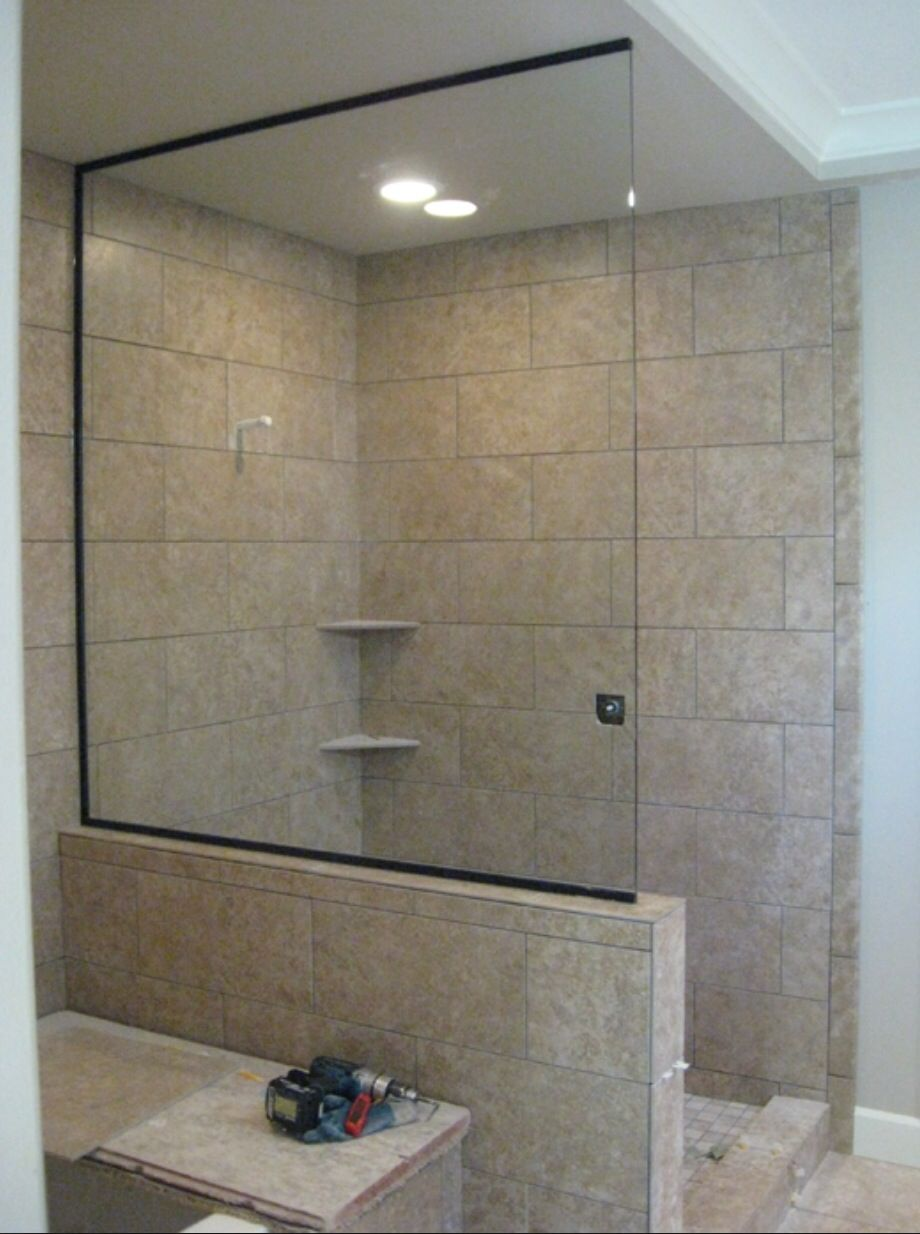 1 2 Height Shower Wall With Safety Glass Panel Also Provides Shelf For Bottles Glass Shower Wall Glass Shower Doors Shower Doors