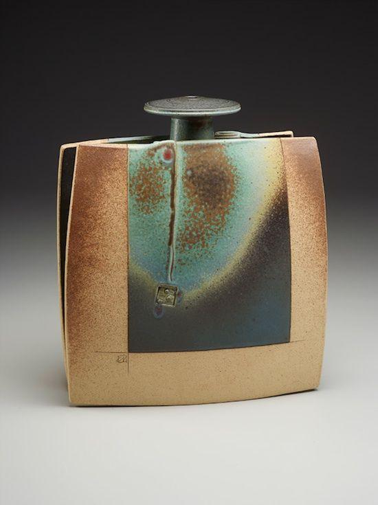 John Nickerson Envelope Bottle Pottery Ceramic Pottery Slab Ceramics Pottery