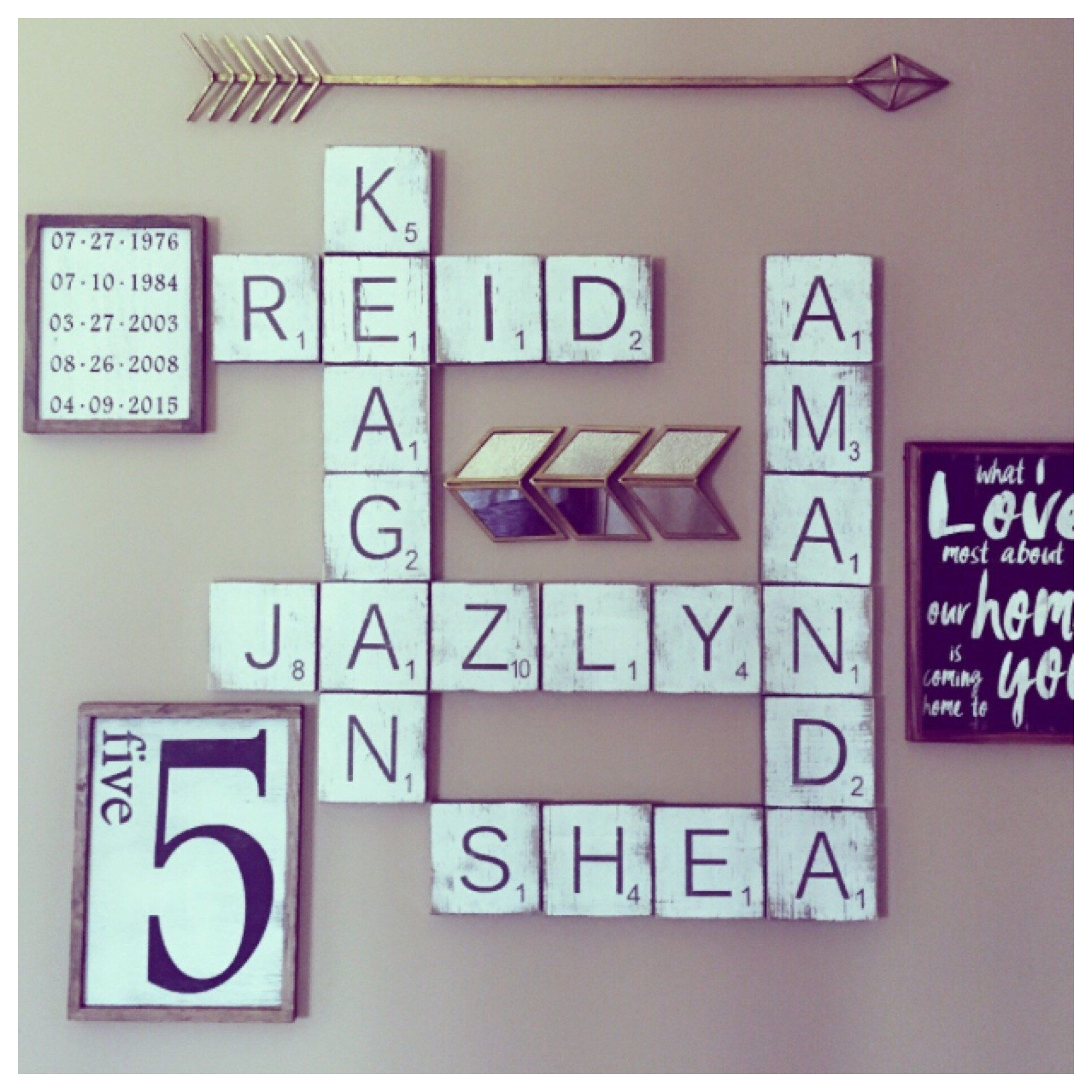 Scrabble Wall Tiles Gallery Signs Large Farmhouse Rustic Chic