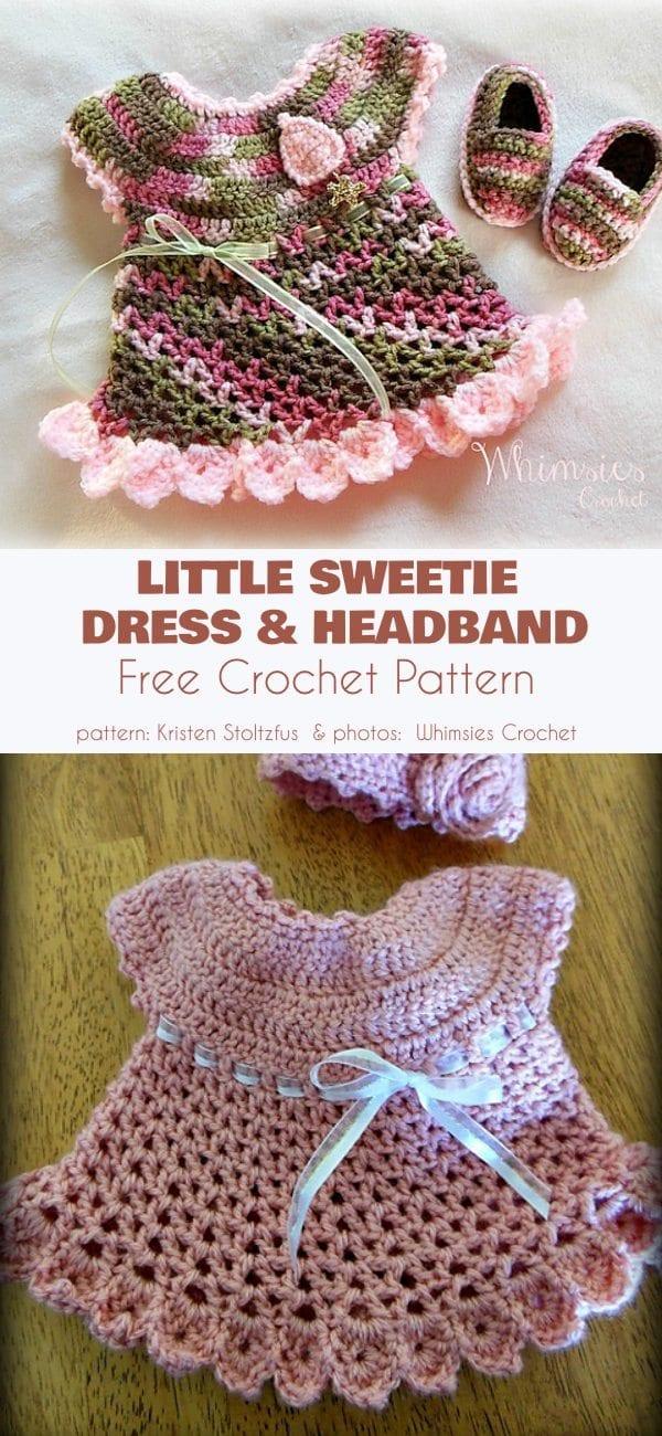 Little Sweetie Dress and Headband Free Crochet Pattern