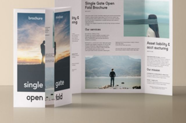 This is another view of our single gate fold psd brochure mockup - gate fold brochure mockup