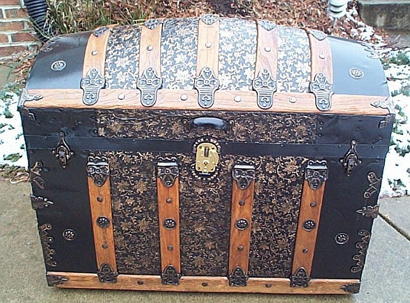 342 Restored Antique Steamer Trunks For Sale Victorian Era All Wood Leather And Pressed Tin Dome Top Fl Antique Steamer Trunk Steamer Trunk Antique Trunk