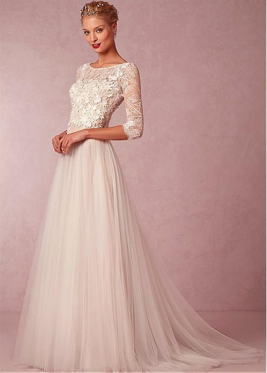 c7cda149c2f Elegant Lace   Tulle Bateau Neckline 3 4 Length Sleeves A-line Wedding  Dress With Venice Lace Appliques