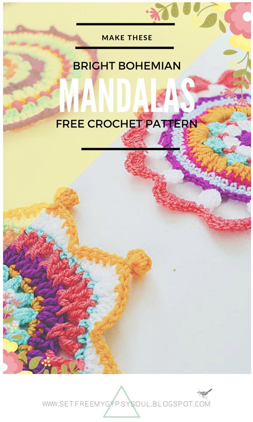 3 Bright Bohemian Mandalas to Crochet | Mandalas, Tejido y Ganchillo