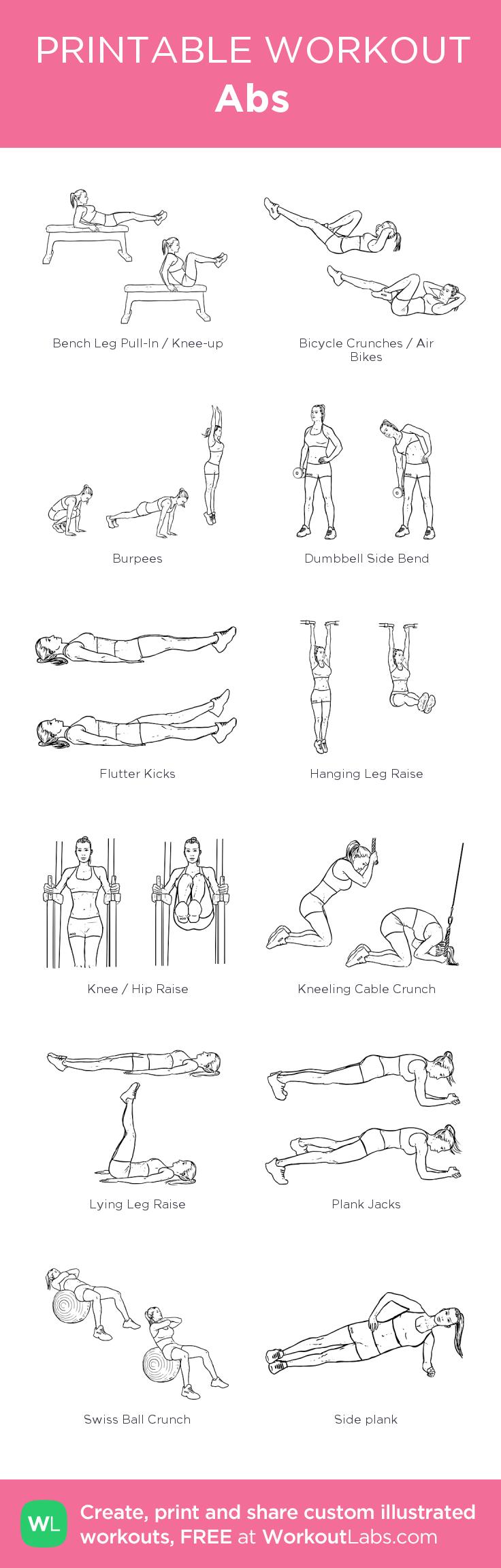 Abs: my custom printable workout by @WorkoutLabs #workoutlabs #customworkout