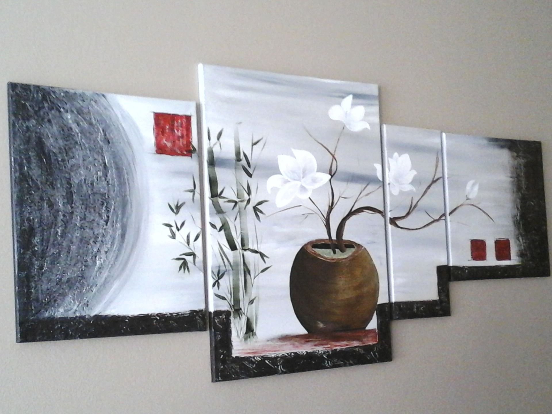 tableau acrylique abstrait magnolia zen et gris. Black Bedroom Furniture Sets. Home Design Ideas