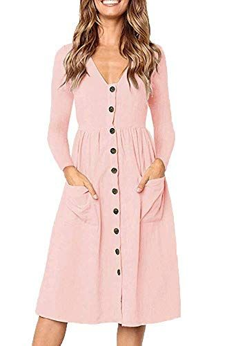 760446323400 Casual Midi Dresses for Women V Neck T Shirt Dress Long Sleeve A Line Swing Dress  Ladies Button Down Tunic Dress with Pockets(Pink