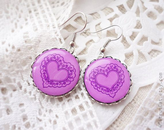 Pink heart earrings - Valentine's jewelry by CitrusCat on Etsy