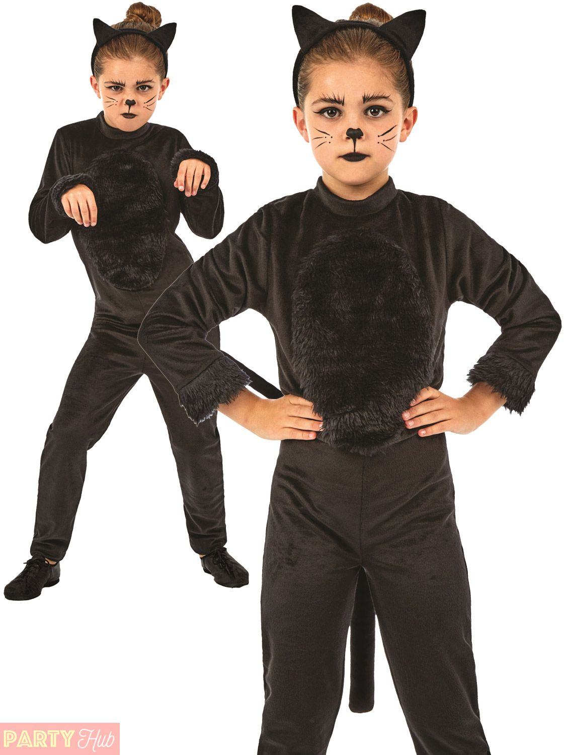 Details about Childs Black Cat Costume Girls Halloween