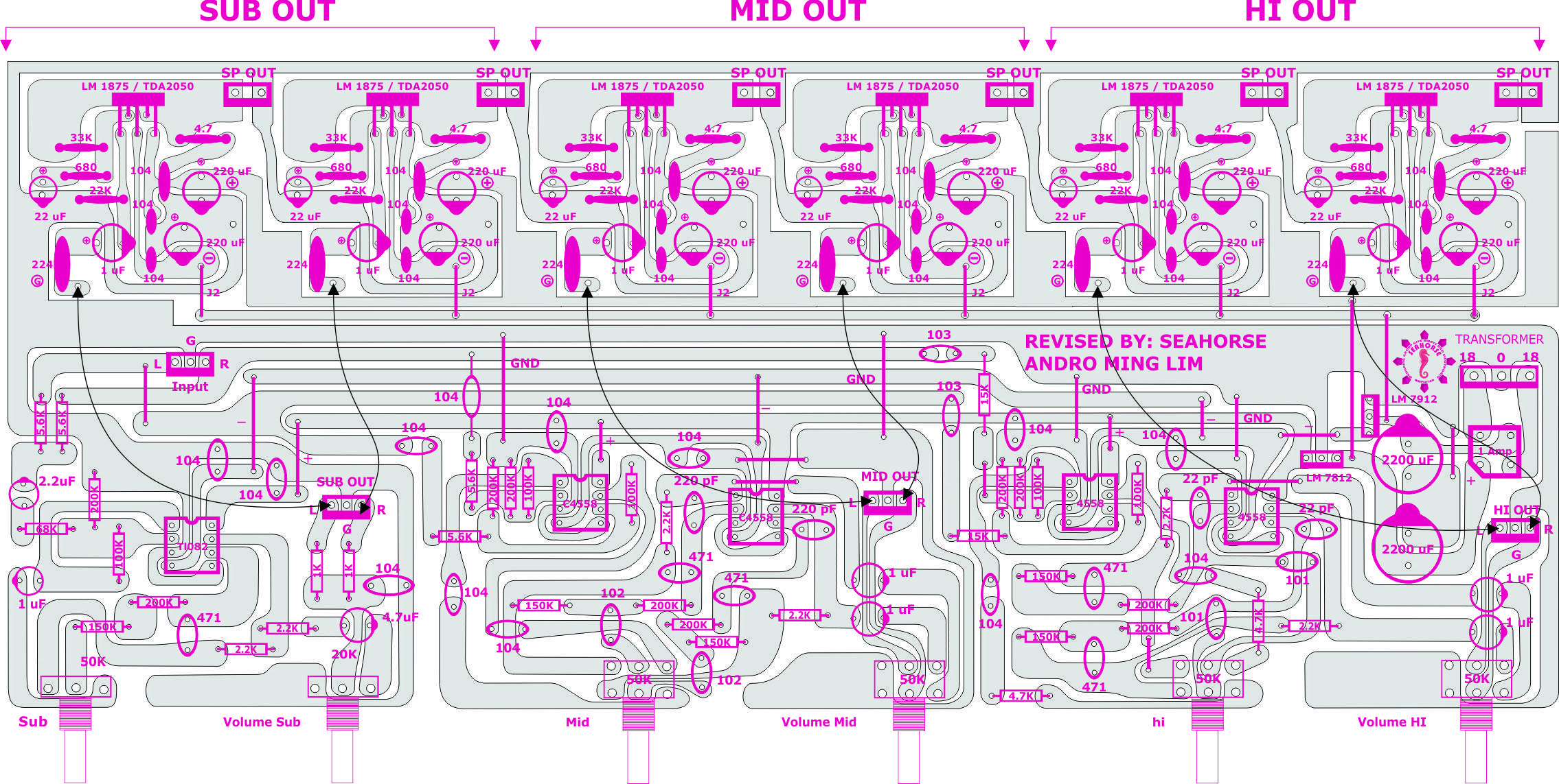 Powered Active Crossover Seahorse Diy Amplifier Pinterest Speaker Circuit Diagram On Two Way Electronics Projects Audio